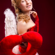 Beautiful girl with white wings — Stock Photo