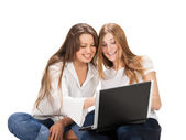 Two pretty young student girls — Stock Photo