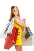Ir de compras. hermosa chica con bolsa — Foto de Stock