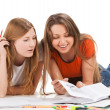 Two young happy student girl work on laptop — Stock Photo #49835701