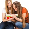 Two young happy student girl work on laptop — Stock Photo #49835831