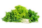 Fresh green vegetablesisolated on white — Stock Photo