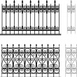 Wrought iron modular railings and fences - Stock Vector