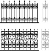 Wrought iron modular railings and fences — Stock Vector