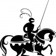 Stock Vector: Knight horseriding