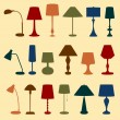 Table and floor lamps — Stock Vector