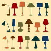 Table et lampadaires — Vecteur
