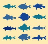 Fish silhouettes — Stock Vector