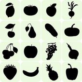 Fruit and Vegetables silhouettes — Stock Vector
