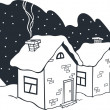 Winter houses - Stock Vector