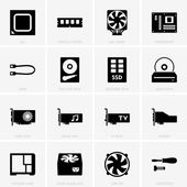 Computer components icons — Stock Vector