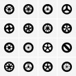 Baby stroller wheel icons — Stock Vector
