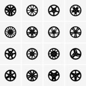 Car rim icons — Stock Vector