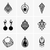 Earring icons — Stock Vector