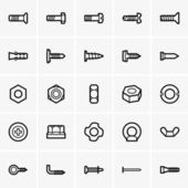Screws and nuts icons — Stok Vektör
