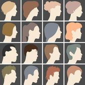 Profiles of faces — Stock Vector