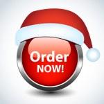 Christmas glossy button. Vector. — Stock Vector
