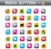 Vector glossy Buttons and Icons for Web Applications. — Stock Vector