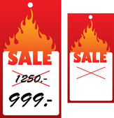 Vector price tag with flame. — Vettoriale Stock