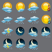 Vector glossy weather icons. — Stock Vector