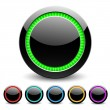 Black glance buttons for web design. Vector. — Vector de stock