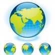 Vector globe aqua styled. Fully editable. — Stock Vector