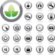 Glossy Icon Set for Web Applications. Vector — Stock Vector