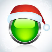 Christmas glossy button. Vector. — Vettoriale Stock