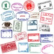 Various visa stamps from passports from worldwide travelling.  — Stockvectorbeeld