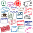 Various visa stamps from passports from worldwide travelling. — Stok Vektör