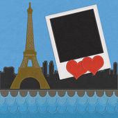 Eiffelturm, paris. frankreich im stich-stil auf stoff-hintergrund — Stockfoto