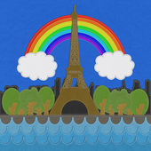 Eiffel tower, Paris. France in stitch style on fabric background — Stok fotoğraf