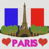 エッフェル塔、パリ。ファブリックの背景にステッチ スタイルでフランス — ストック写真