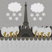 Eiffel tower, Paris. France in stitch style on fabric background — Foto de Stock