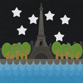 Eiffel tower, Paris. France in stitch style on fabric background — Photo