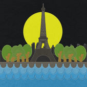 Eiffel tower, Paris. France in stitch style on fabric background — 图库照片