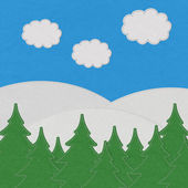 Landscape with stitch style on fabric background — 图库照片