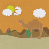 Lone Camel in the Desert sand with stitch style on fabric backgr — Stock Photo