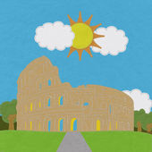 Colosseum in rome with stitch style on fabric background — Stock Photo