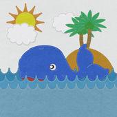 Kumaş zemin üzerine dikiş stiliyle sevimli gülümseyen balina — Stok fotoğraf