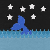 Cute Smiling Whale with stitch style on fabric background — Stock Photo