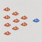 Fish leader on white background with stitch style, unique and di — Foto Stock