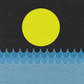 Sea with stitch style on fabric background — 图库照片