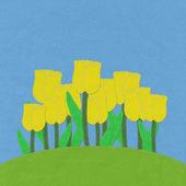 Tulip no campo de grama verde com fundo de tela de estilo de ponto — Fotografia Stock