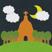 Chruch in stitch style on fabric background — Stok fotoğraf