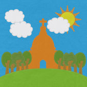 Chruch in stitch style on fabric background — Stockfoto