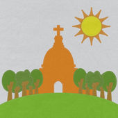Chruch in stitch style on fabric background — Photo