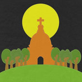 Chruch in stitch style on fabric background — ストック写真