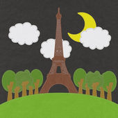 Eiffel tower, Paris. France in stitch style on fabric background — Zdjęcie stockowe