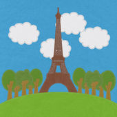 Eiffel tower, Paris. France in stitch style on fabric background — Stockfoto